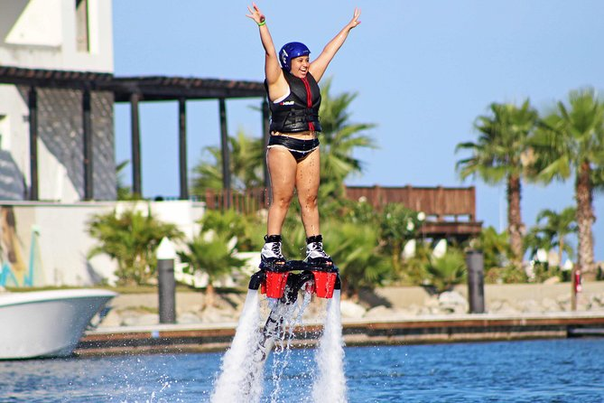 Best water tour in Cabo, Flyboard inside a protected Marina