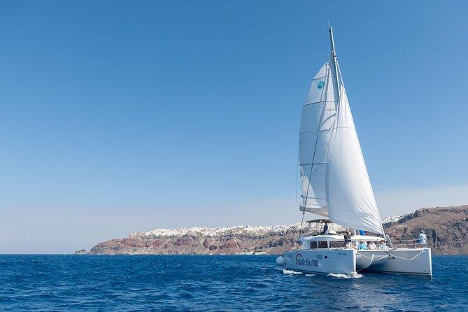 Premium Santorini Private Day Tour Lagoon 450, BBQ, drinks, transfer
