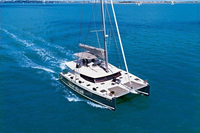 Santorini Luxury Catamaran Day Cruise with BBQ,drinks,transfer