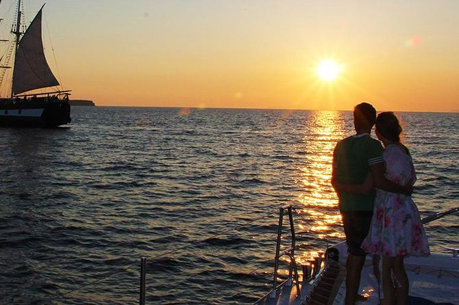 Sunset Sailing Catamaran Cruise in Santorini with BBQ and Drinks