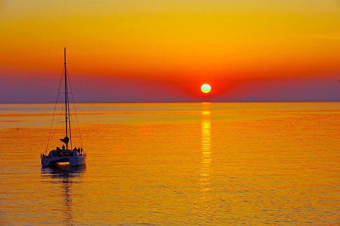 Santorini Sunset Luxury Sailing Catamaran Cruise with BBQ, drinks, transfer