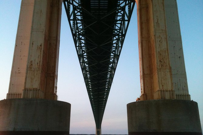 Under the majestic Mackinac Bridge