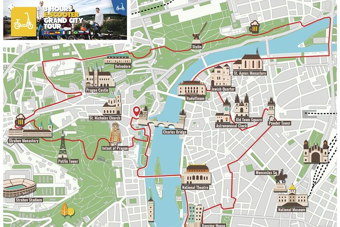 Map of the 3h E-scooter grand city tour in Prague
