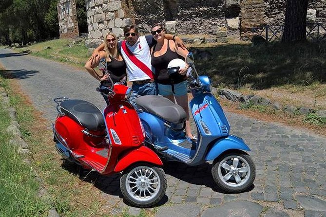 Appian Way Vespa Tour with a driver and hotel pickup and drop-off