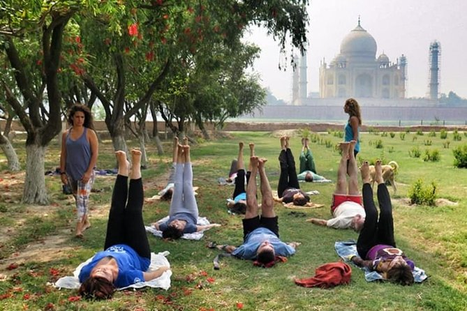 Yoga Class In The Shadow of Tajmahal