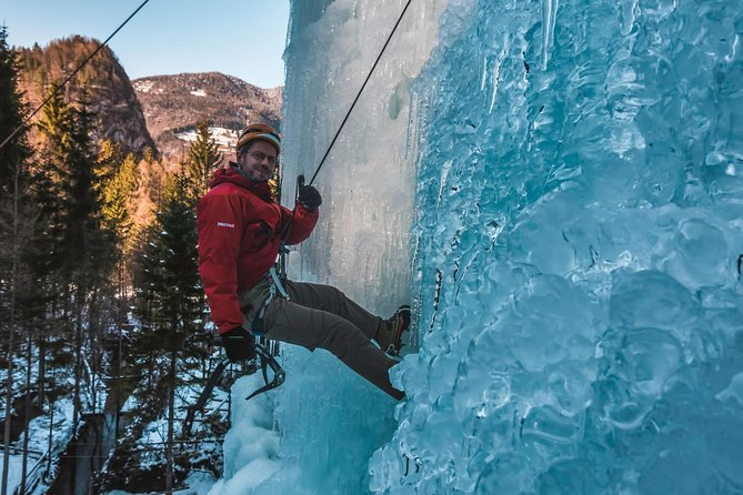climbing frozen waterfall