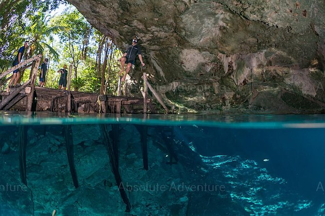 Dos Ojos Cenote private snorkeling tour from Cancun hotel zone