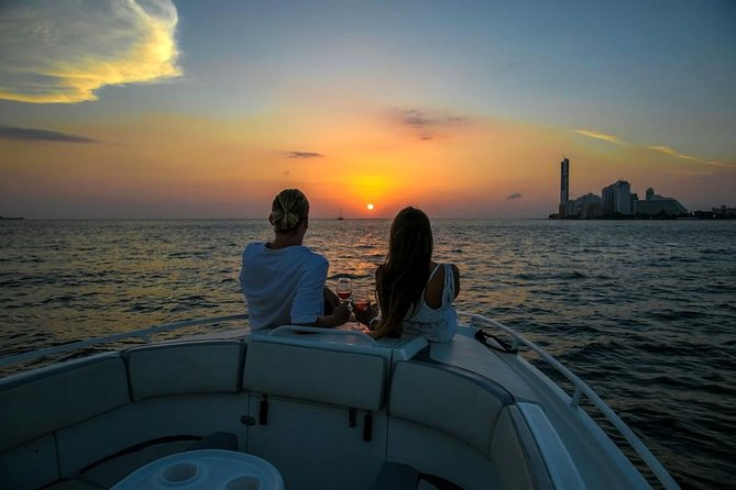 Sunset boat party in Cartagena bay