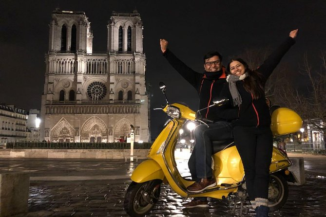Paris by Night Vespa Scooter Private Sightseeing Tour with Guide