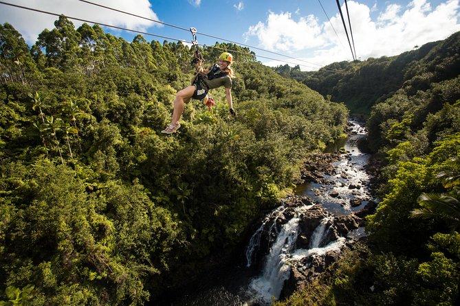 ZipLine Through Paradise, cascadas de barbacoa nadan y transporte desde Kona / Kohala