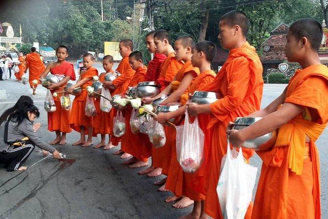 Alms to monks Chiang Mai city views Wat Palad
