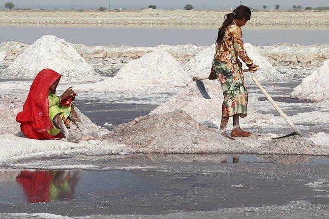 Sambhar Lake Salt Farms Sacred temple from Jaipur