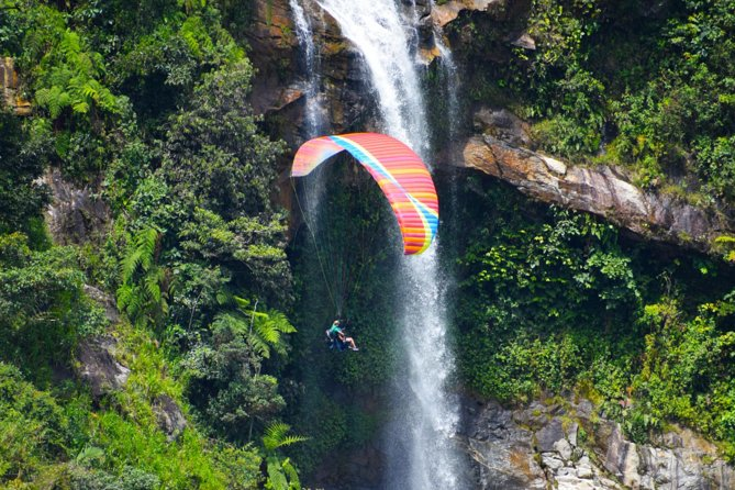 Awesome PARAGLIDING over giant waterfalls from MEDELLIN