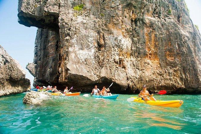 Paddle through narrow passages by kayak