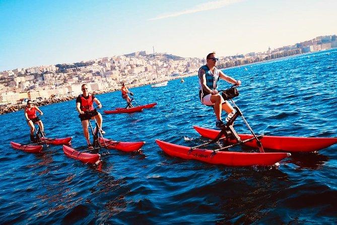 Bicycle tour on Water Bike along Napoli Posillipo Mergellina coast + swim stop