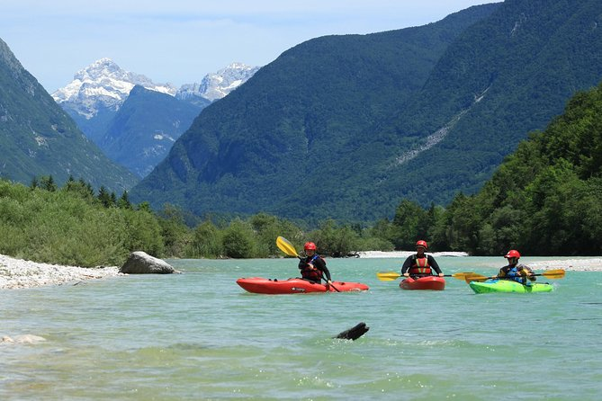 Kayak sit on top on the Soča river (Isonzo)
