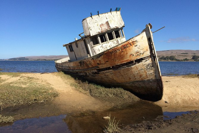 This old, abandoned boat sits behind the village of Inverness along the Tomales Bay.