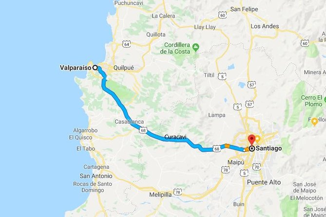 Transfers from Valparaiso to Santiago (Hotel or Airport