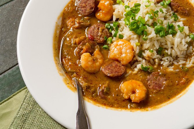 Alligator Sausage and Gulf Shrimp Gumbo from the Red Fish Grill