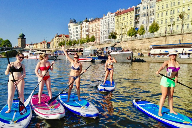 Stand-Up Paddleboarding on the Vltava River in Prague