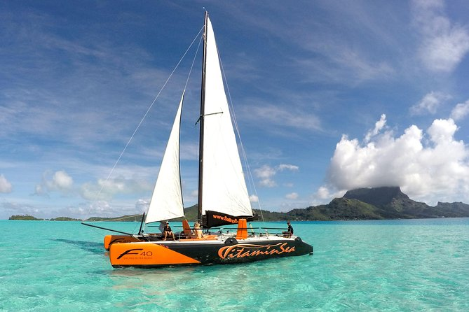 Bora Bora Half-Day Catamaran Sailing, Snorkeling and Floating Bar Experience