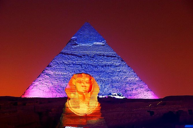 Light and sound show in the Pyramids with dinner (private)