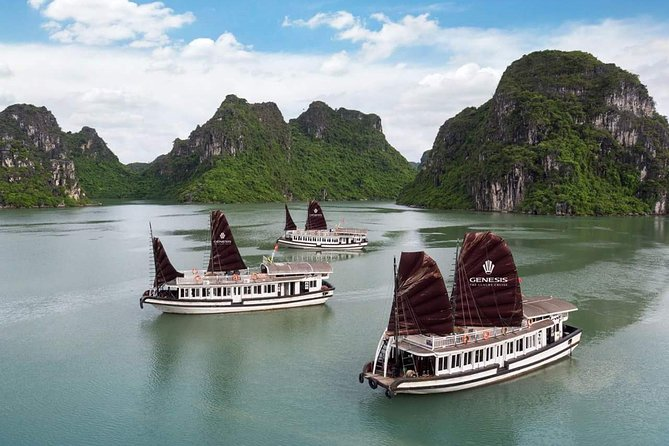 Halong Genesis luxury cruise full day trip: Halong Bay - Surprise cave & Kayak