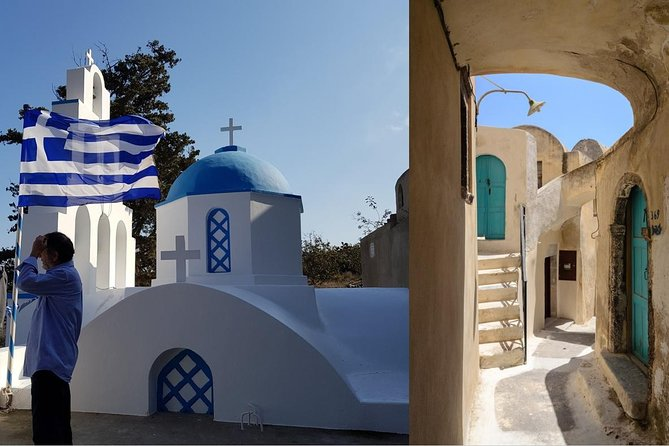 A journey back in time: traditions of Santorini tour with family chapel visit