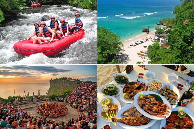Bali White Water Rafting and Uluwatu Sunset Tour With Seafood Dinner