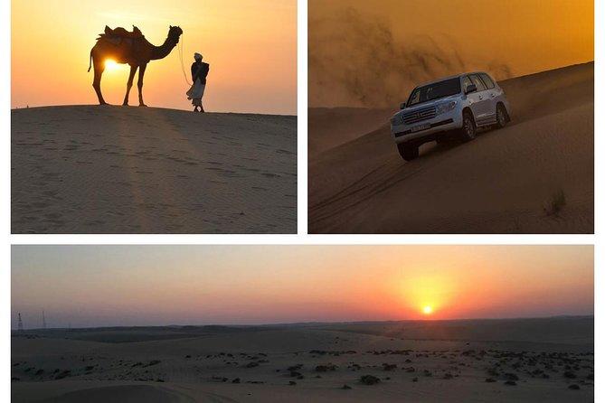 Private sunset desert Safari, sand boarding, camel ride, Inland sea visit