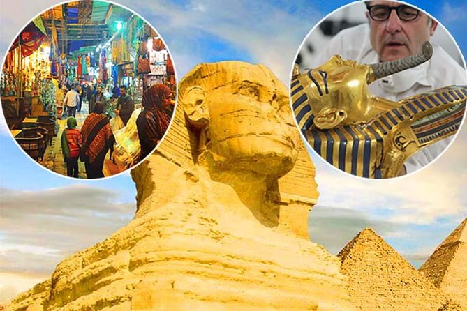 Cairo Layover Day Tour to Pyramids, Egyptian Museum and Khan El Khalili Bazaar