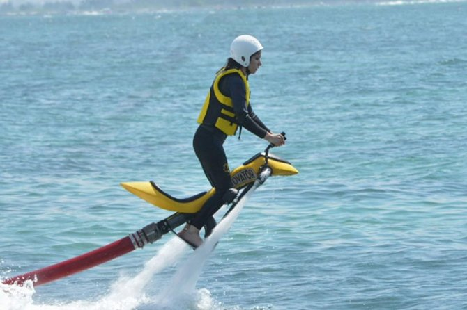 Driving a Jetovator of water sports that is challenging and adrenaline