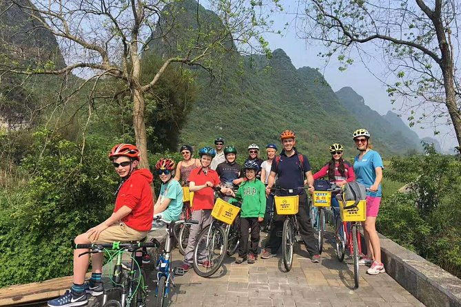 Independent Yangshuo biking tour along village and Bamboo rafting with Moon hill