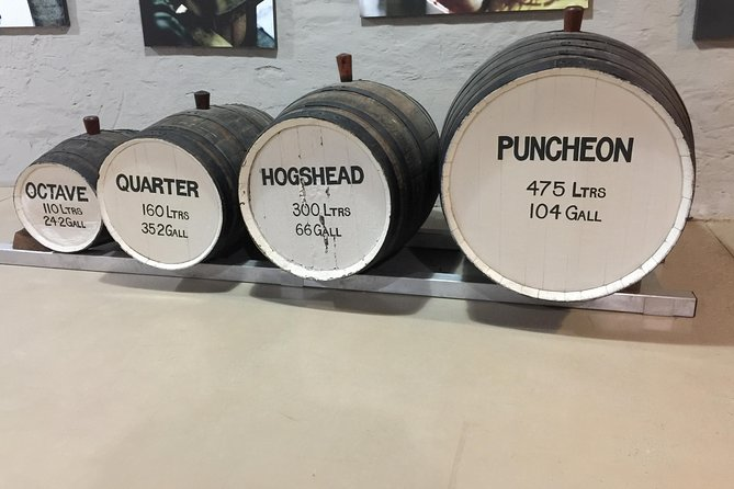 The wine barrels here are the most common, depending on the wine maker how much oak they like in the flavour or how soft the wine needs to be, as you can see the volume of each barrel.
