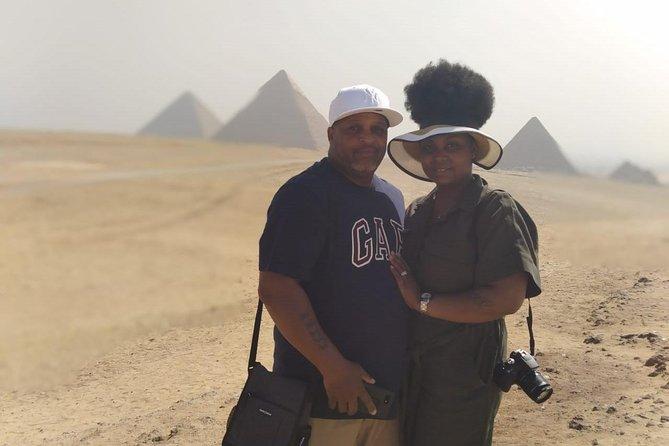 8-hours full day tour Giza pyramids sphinx camel ride sakkara memphis