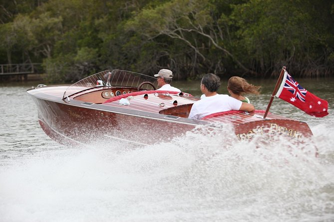 Noosa River Cruise for 2 people on a Classic Mahogany Speed Boat - 90 min.