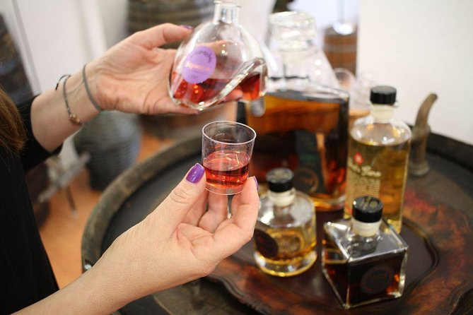 Liquer tasting in Polykala's Distillery Show Room in Athens
