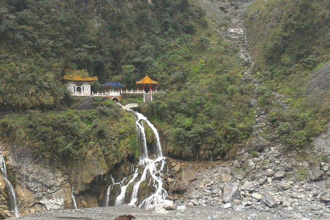 Temple and waterfall in Taroko NP
