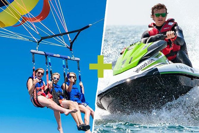 Jet ski package without license and Parasailing in Barcelona