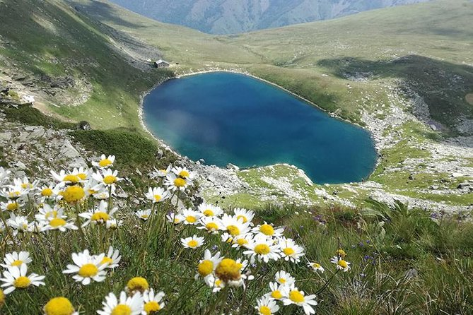Hiking to the mountain lake