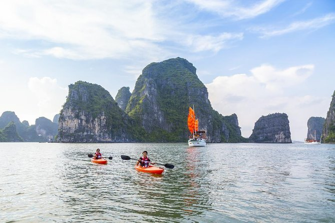 Halong Bay Overnight Cruise Including Transfer, Kayak, Swim, Cave, and Meals