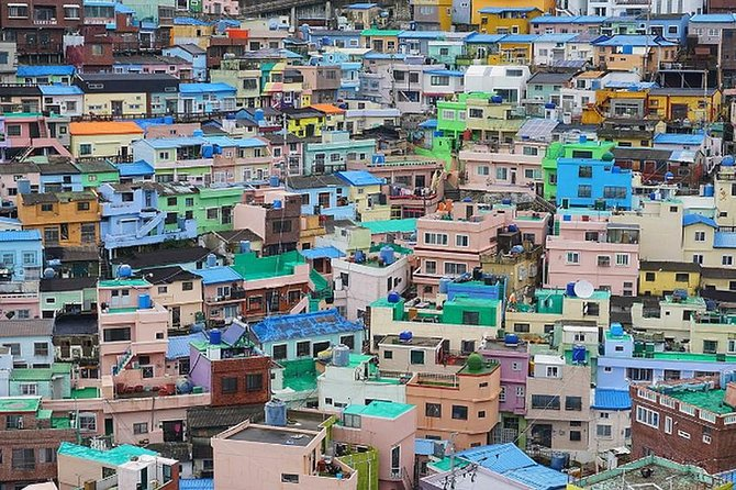 Gamcheon-dong Cultural Village(2) is shaped like a picture of a house made up of terraced stairs under a mountain, called