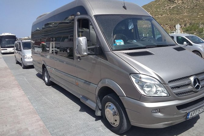 Arrival Private Transfer from Mykonos Airport JMK to Mykonos by Sprinter Minibus