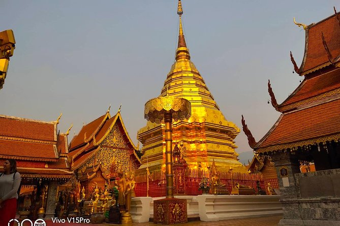 Doi Suthep temple at twilight, views, hidden temple, monks chanting,Street food