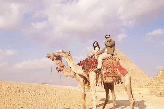 Cammello o equitazione nel deserto delle piramidi di Giza