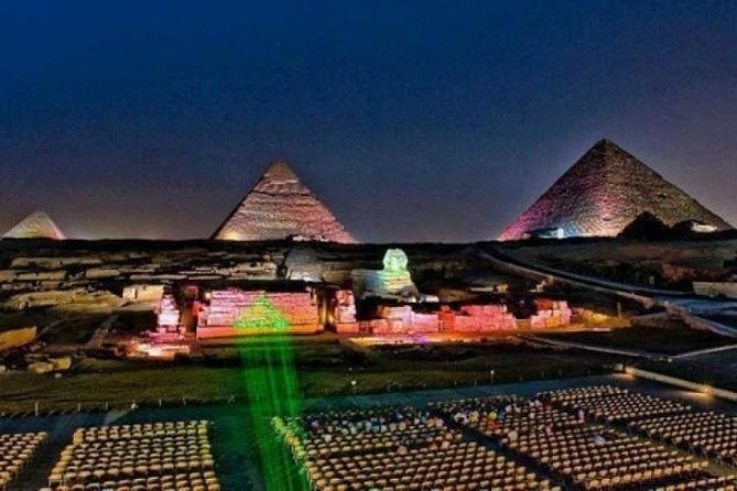 Show of Light and Sound at the Giza Pyramids and Sphinx with private transfer