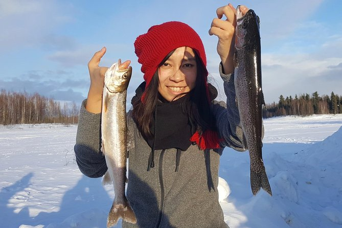 Fairbanks Ice Fishing Expedition in a Heated Cabin with Fish Cookout
