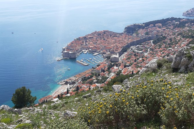 Panorama of Dubrovnik with double-decker bus