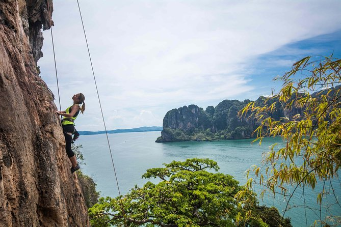 Beginner's Full Day Rock Climbing and Caving Tours at Railay Beach in Krabi