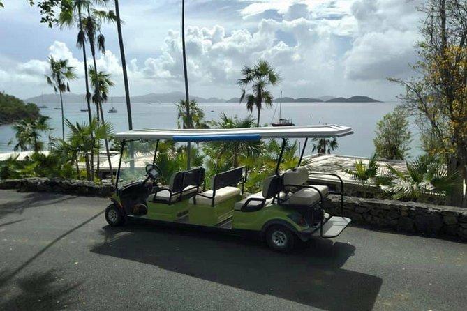 Honeymoon Beach, St. John Golf Cart Transfer from Caneel Bay Resort Entrance